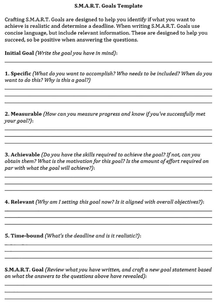 SMART Goals Template  Internal Communications