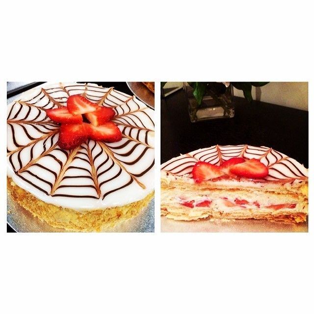 Mille feuille layered with vanilla mousse and fresh strawberries