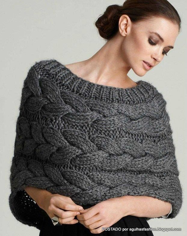 Medium Grey colored Cowl with ribbed neckline and all over wide cable design.