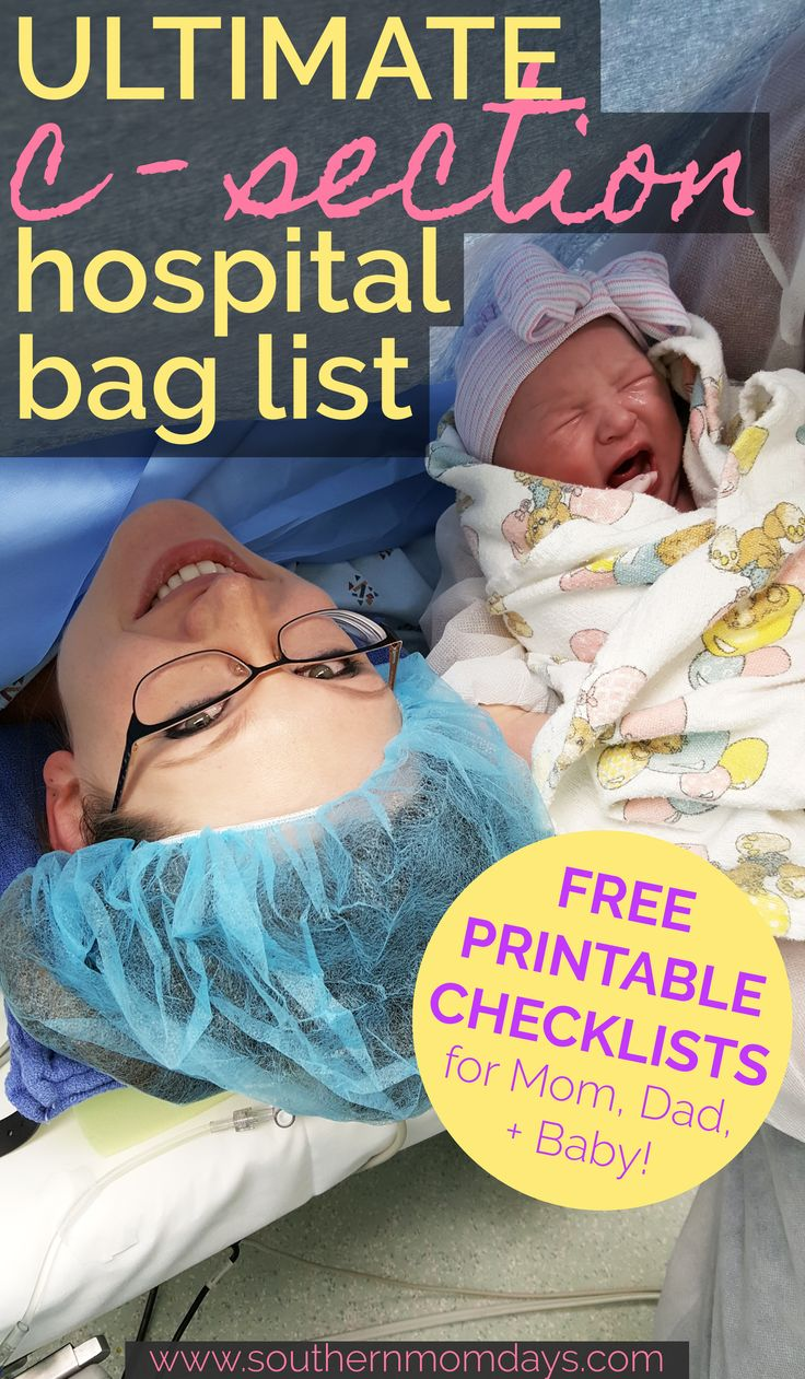 Get ready for your scheduled c section delivery with this ultimate c section hospital bag checklist! Everything you need + need to know for a great delivery. Click for a FREE printable book of checklists, including c section hospital bag packing lists for mom, baby, and your hubby! ❤ C section hospital bag free printable, c section hospital bag for mom to be, c section hospital bag planned, c section hospital bag dads. #csection #hospitalbag #hospitalbagchecklist #hospitalbagessentials