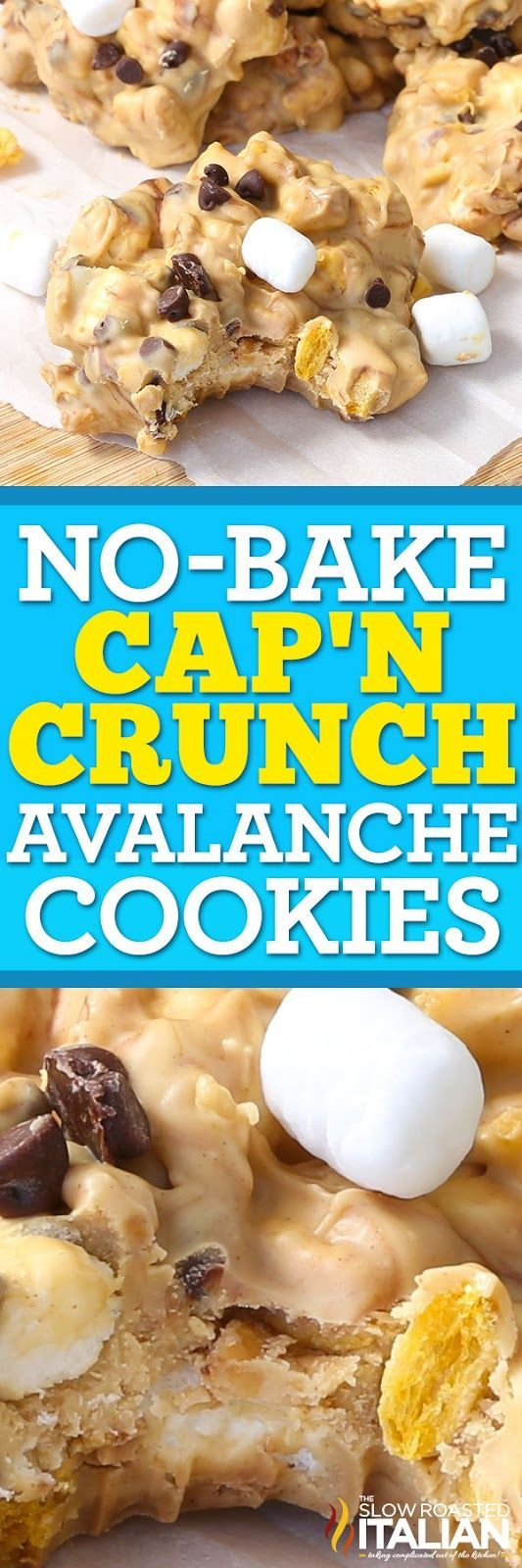 No-Bake Cap'n Crunch Avalanche Cookies are a simple 5-ingredient recipe that comes together in just 15 minutes! Imagine creamy peanut butter fudge swirled with chocolate and speckled with Cap'n Crunch cereal and fluffy marshmallows. It's the ultimate treat. A creamy, fudgy, crunchy, peanut buttery treat that has the right touch of chocolate and is perfectly sweet! Hurry, you probably have everything you need to make this in your pantry!