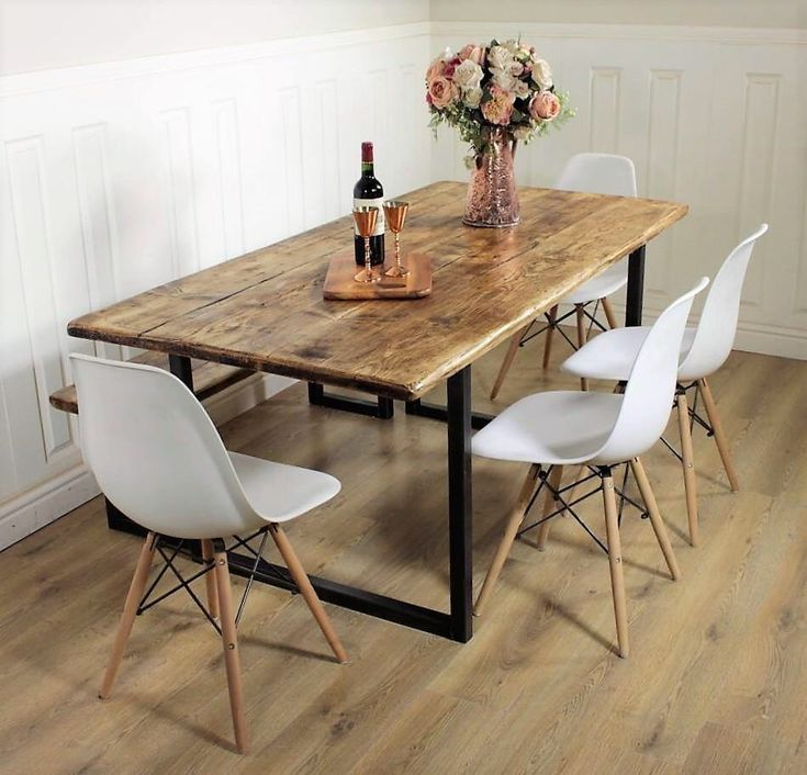 Industrial Dining Table Rustic solid Kitchen farmhouse Steel Reclaimed Chelsea - Handmade In Britain British Steel by ShabbyBearCottage on Etsy https://www.etsy.com/uk/listing/546804436/industrial-dining-table-rustic-solid