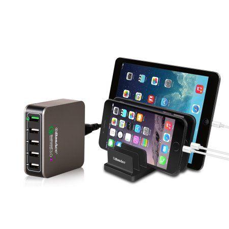 BasAcc [Quick Charge 3.0] 40W 8A 5-Port USB AC Wall Travel Charger Universal Charging Hub Station (1x QC 3.0 & 4x Smart Sense USB)(Qualcomm Certified) + Multi-Device Desk Organizer - Walmart.com