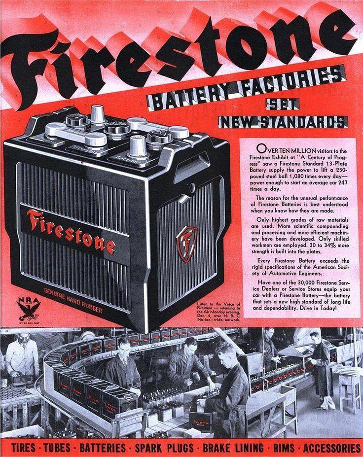 FIRESTONE Battery Factories Set New Standards 1933