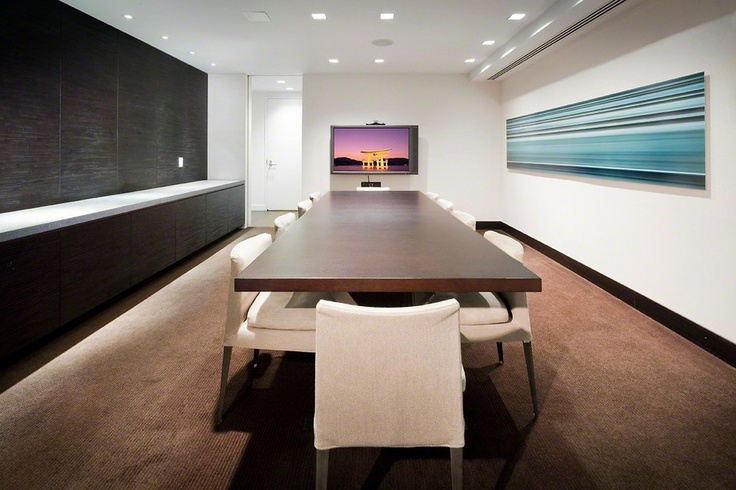 Row of built in cabinets with counter nyc modern - Interior design ideas for conference rooms ...