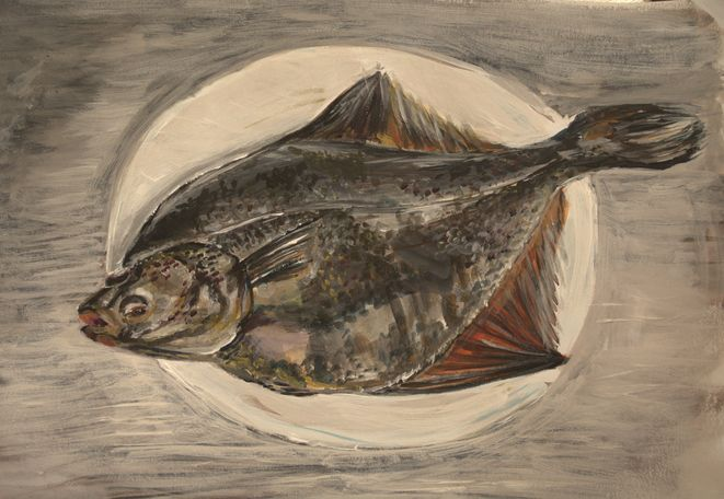 {иллюстрация, дизайн и другие ...котики} - Результаты рисовального флешмоба Nr. 111: рыба  Drawing flash mob - fishes flatfish / flounder Acrylic