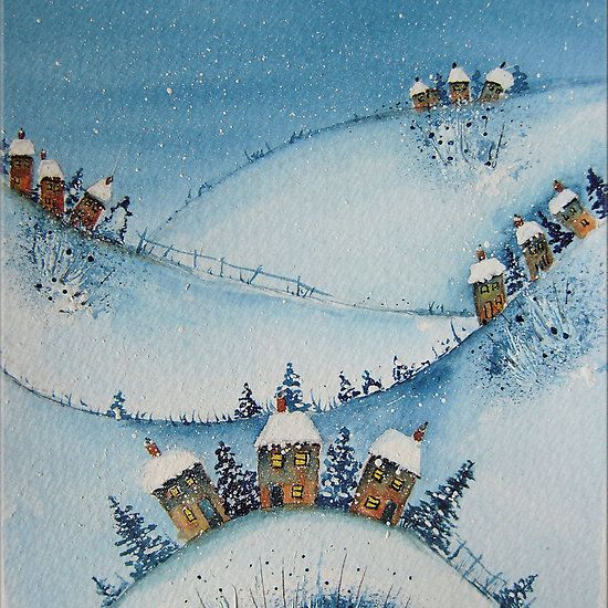 Houses on the Hills in the Snow