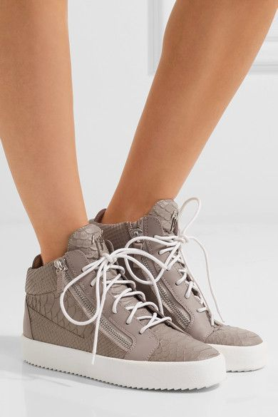 Giuseppe Zanotti - Kriss Croc-effect Leather High-top Sneakers - Mushroom - IT35.5