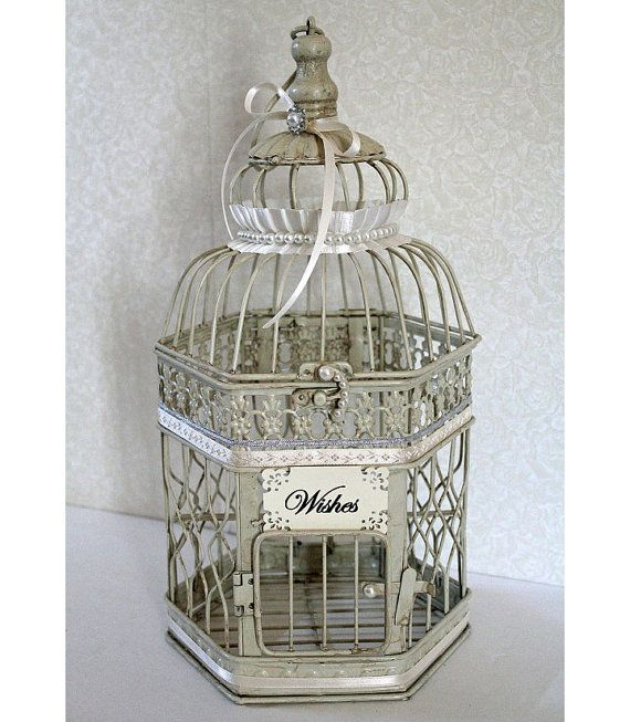 Wedding Birdcage Wishing Well, Small Card Box, Money Holder. Vintage Ivory, Silver & Pearl. Wedding Advice Box. Wishes.