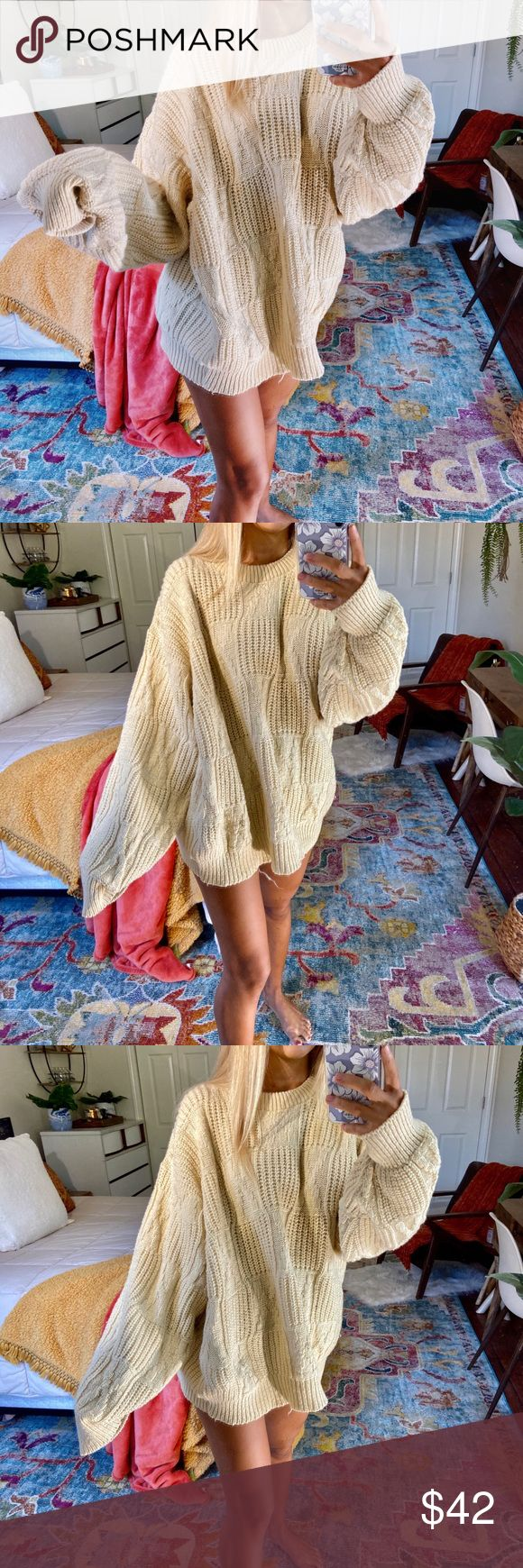 creamy/yellow lux wool knit gorgeous creamy/yellow lux wool knitted sweater. such incredible quality and perfect for the fall and winter. fits a size ...