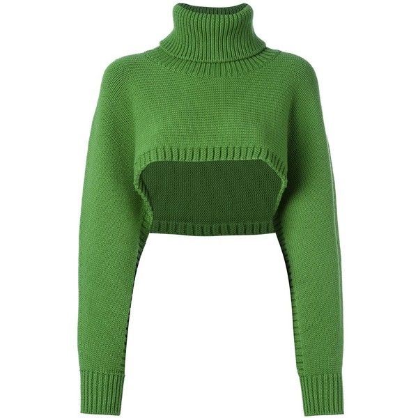 I'M Isola Marras cropped jumper ($257) ❤ liked on Polyvore featuring tops, sweaters, green and i'm isola marras
