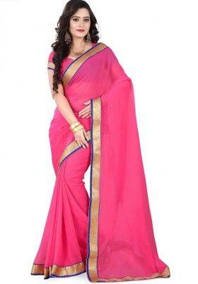 Cutty Pink Chiffon 60 Gm Saree with Pink Chiffon 60 GM Blouse