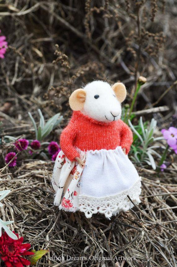 Momma Mouse  Autumn  Felting Dreams por feltingdreams en Etsy