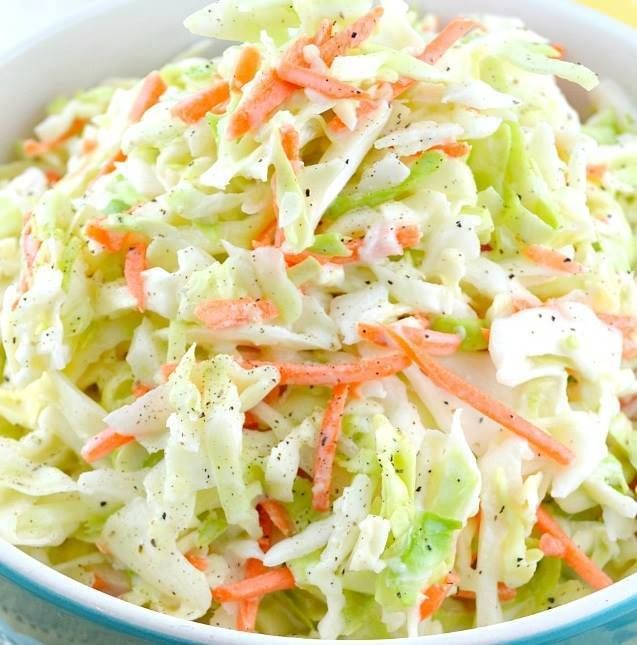 Ingredients Nutrition 3 smartpoints Servings 10 Units US 8 cups finely diced cabbage (about 1 head) 1⁄4 cup diced carrot 2 tablespoons minced onions 1⁄3 cup granulated sugar 1⁄2 teaspoon salt 1⁄8 teaspoon pepper 1⁄4 cup milk 1⁄2 cup mayonnaise 1⁄4 cup buttermilk 1 1⁄2 tablespoons whi…