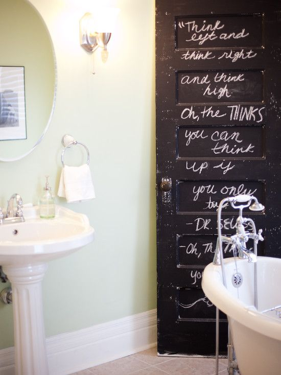 love this color: The Doors, Bathroom Doors, Ideas, Chalkboards Paintings, Chalkboard Paint, Chalk Boards, Old Doors, Chalkboards Doors, Vintage Doors