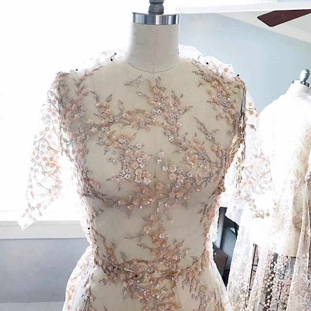 I finished my 10 year anniversary dress just in time for our trip. It turned out exactly how I designed it in my head, and I can't wait to show you the finished look! Here is a little snap while I was making it. It's one of the prettiest fabrics I have ever worked with! #leannesdesigns #moodfabrics