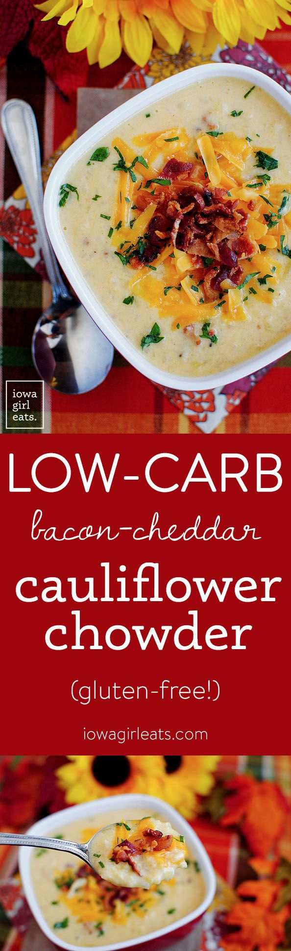 Gluten-Free Bacon-Cheddar Cauliflower Chowder is a lower-carb alternative to Baked Potato Soup! #glutenfree | iowagirleats.com