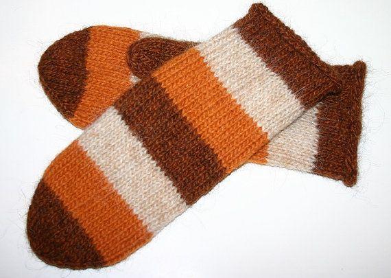 Unisex Icelandic Wool Mittens in Brown Beige & Golden by Maggadora, $37.00