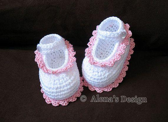 Crochet Pattern 077 Crochet Baby Shoes Crochet por AlenasDesign