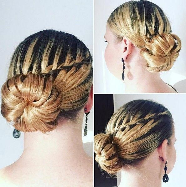Chic Bun Updo Hairstyle With Waterfall Braid Prom Hairstyles 2016 Chic Bun Updo Hairstyle Wi In 2020 Waterfall Braid Hairstyle Braided Hairstyles Long Hair Styles