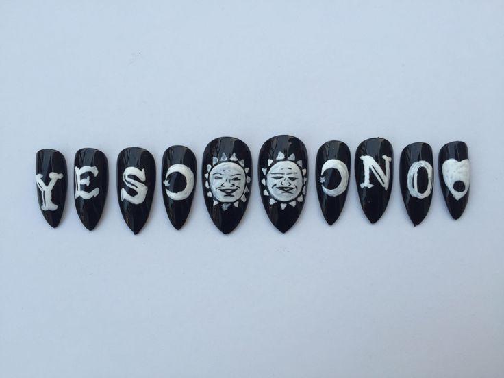 Ouija Board Nails, Set of 10 Ouija board press on nails by RaveNailz on Etsy https://www.etsy.com/listing/220198343/ouija-board-nails-set-of-10-ouija-board