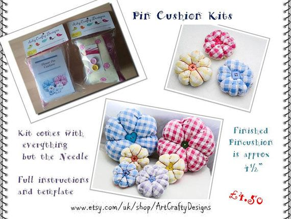 Pin Cushion Flower Kit Do it Yourself Kit Pin by ArtCraftyDesigns