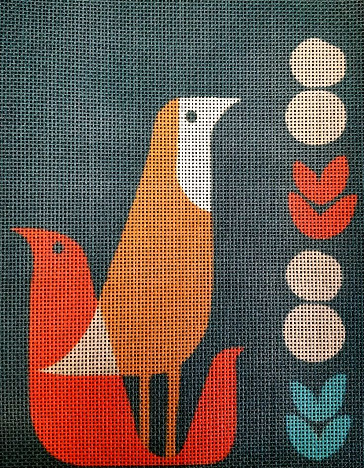 Mid Century Modern Needlepoint Thrush at Midnight