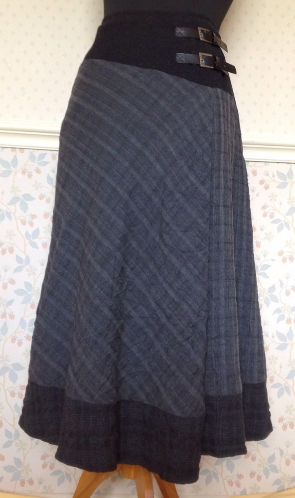 12 Quirky Grey Checked Textured Midi Aline Kilt Skirt Bohemian Winter Steampunk in Clothes, Shoes & Accessories, Women's Clothing, Skirts | eBay