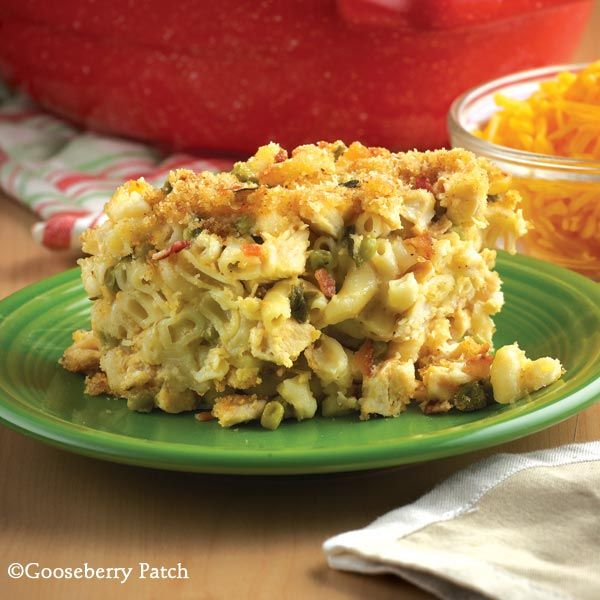 Gooseberry Patch Recipes: Farmhouse Chicken Bake. This hearty but easy casserole is filled with cheesy, chicken goodness!