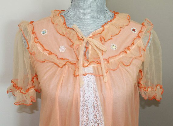 Vintage Chiffon Nightgown  Orange Chiffon and Lace Dressing