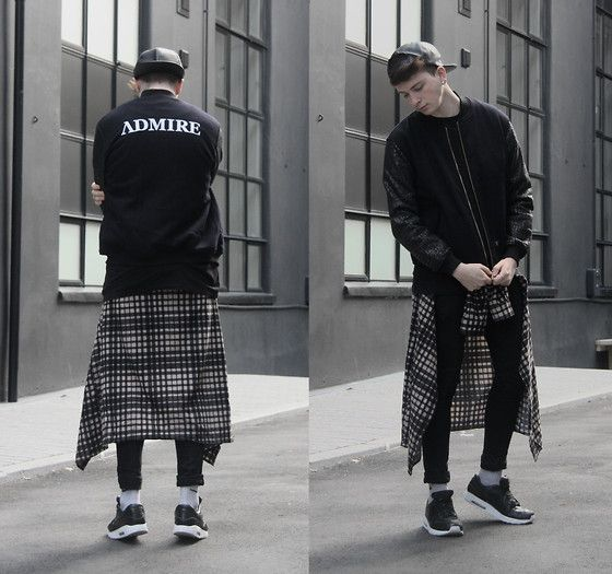 Admirable Admire, The Jacket, Asos Faux Leather Cap, Longline Plaid Shirt, Nike Tier 0 Air Max