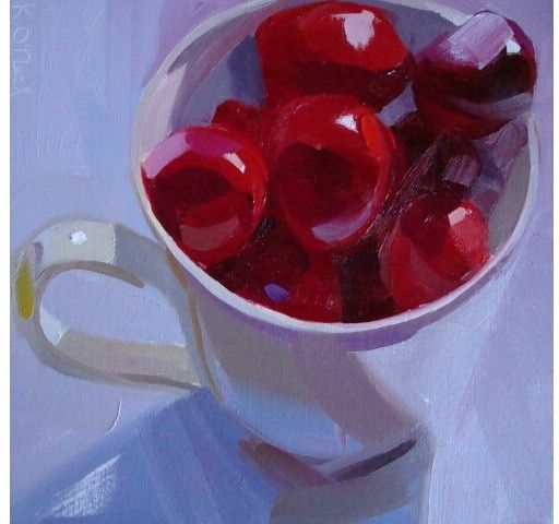 red, cherries, bold, bright, fruit, food, still life, square, rich:
