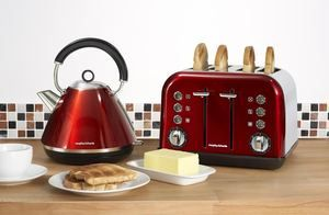 Morphy Richards Red Kettle and 4 Slice Toaster - Accents Range