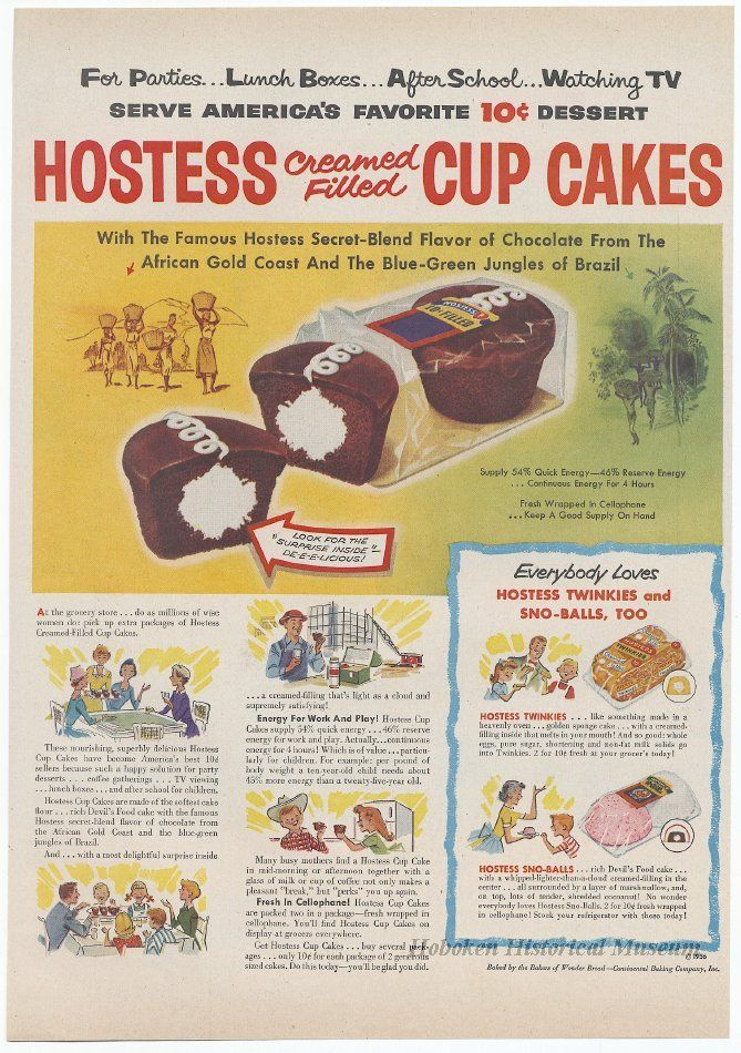 Ad for Hostess Cup Cakes from Life magazine, June 11, 1956. (Hoboken Historical Museum)