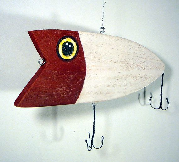 Recycled Wood  Fishing Lure Hand Painted by CurioBay on Etsy, $27.00