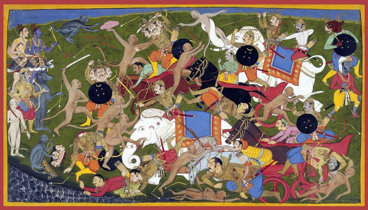 Sahibdin. The Battle at Lanka. Ramayana, ca. 1650, Depicts the monkey army of the protagonist Rama (top left, blue figure) fighting the demon-king of the king of Lanka, Ravana in order to save Rama's kidnapped wife Sita