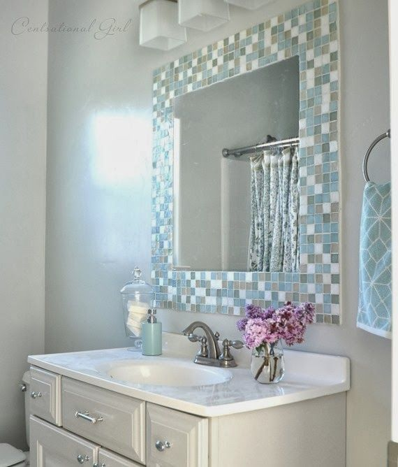 Diy Mosaic Tile Bathroom Mirror Country Chic Pinterest