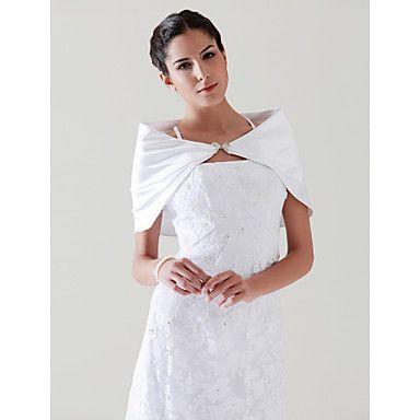 mangas de cetim com strass fecho com jaqueta de casamento nupcial / envoltório (0537-A013) – BRL R$36,33