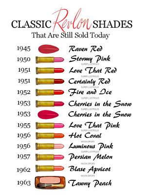 Classic Revlon shades you can still find these days.