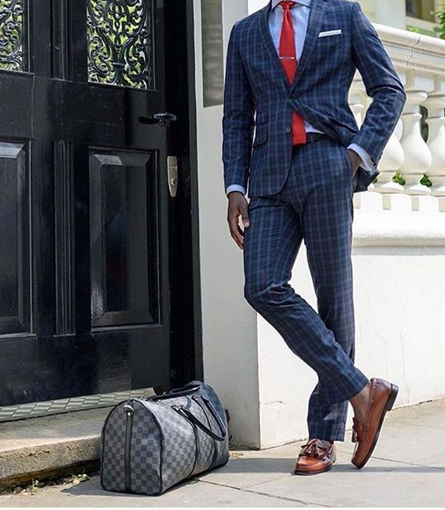 Navy Blue checkered suit ! Red slim tie for contrast ! What do you think of this outfit? Follow @suitpage for more men's fashion inspiration!