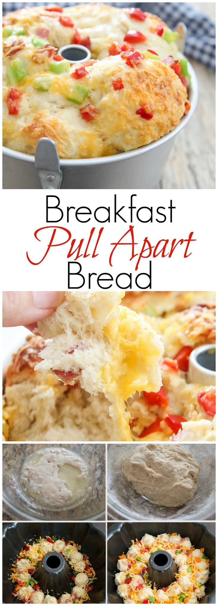 Breakfast Pull Apart Bread. Easy, made-from-scratch bread, peppers, bacon, cheese and eggs. All your breakfast ingredients wrapped up together.