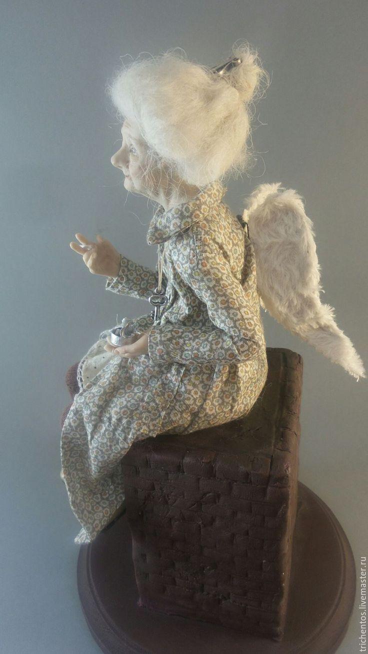 Купить Ангел на дымоходе - белый, бежевый, ангел, старый ангел, Питер, сигарета, кукла с сигаретой