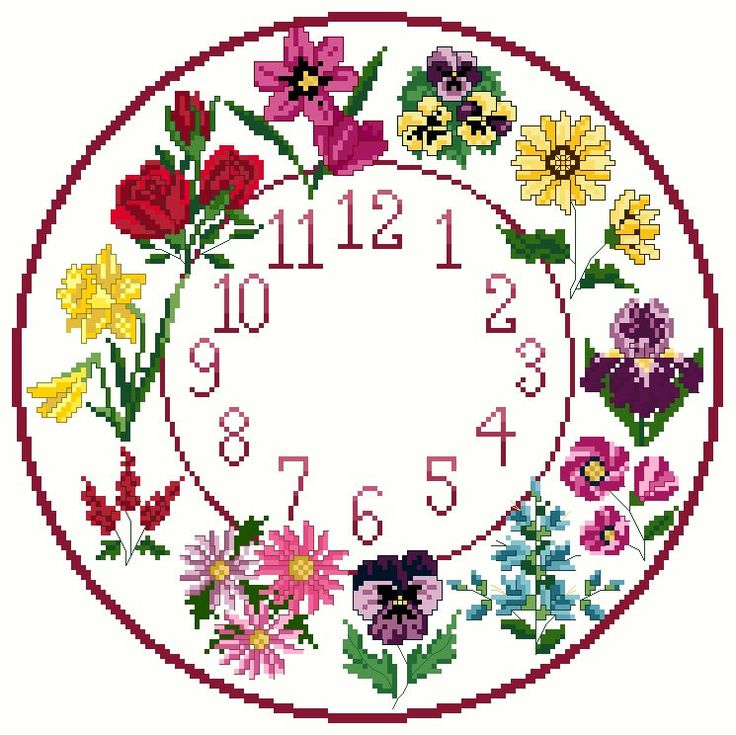 A personal favourite from my Etsy shop https://www.etsy.com/uk/listing/204239290/cross-stitch-flower-clock-chart-pattern