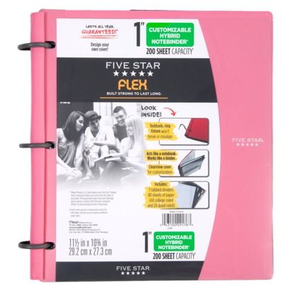 five star notebinder, blue, black, pink, green, and red