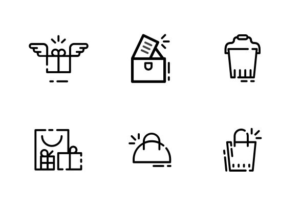 "Vector bold line icons. ""Bags and packages"" set #LineIcons #VectorIcons #packageIcon"