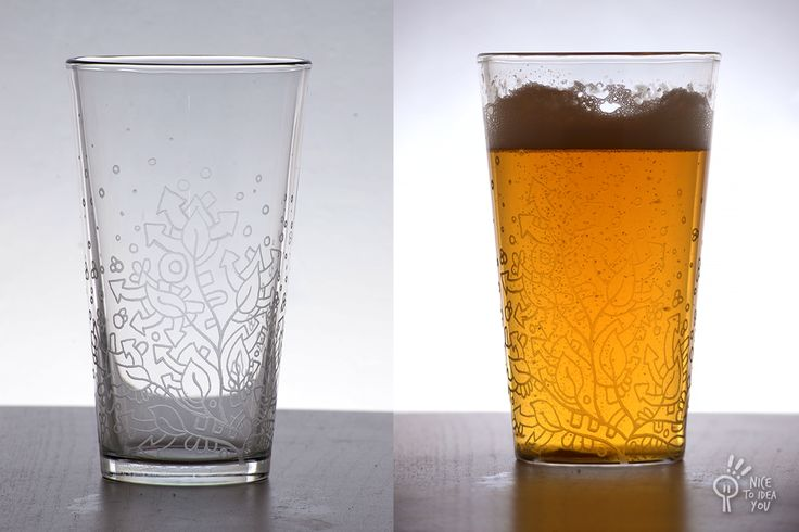 A pint glass commissioned for a graduation gift: Hand engraved, with graphic elements descriptive of the birthday girl.