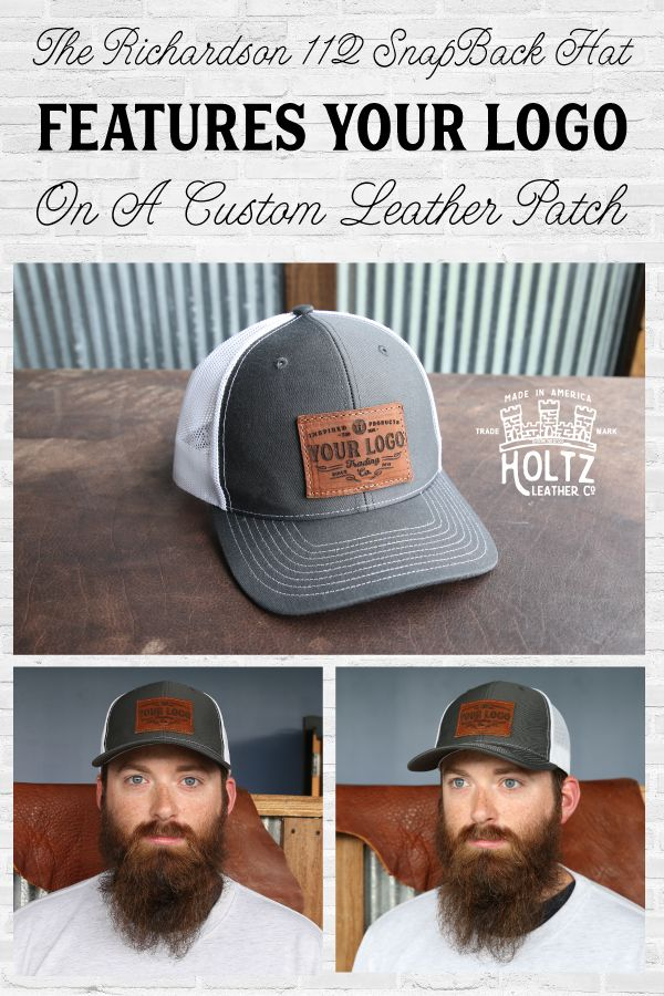 Custom Leather Patch Hat with YOUR LOGO  64c19f0f91c7