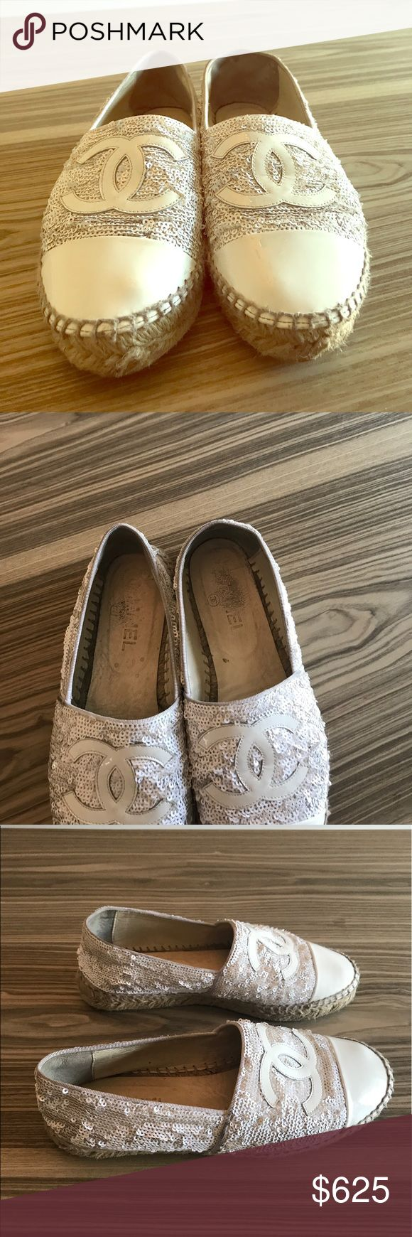Chanel espadrilles I have a pair AUTHENTIC chanel limited edition espadrilles for sale.  7/10 condition.  The inside is pretty worn in the inside but the outside is in very good condition!  Will come dustbag.  No longer available in stores. CHANEL Shoes Espadrilles