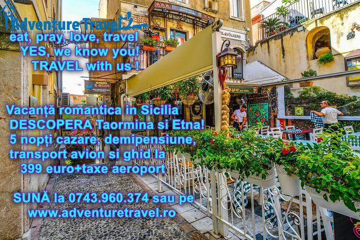 Vacanta Romantica in Sicilia – #DESCOPERA #Taormina si Etna. 5 nopti #cazare, demipensiune si bilet de avion de la 399 euro/persoana. #REZERVA aici http://www.adventuretravel.ro/oferta-sejur-romantic-sicilia sau #SUNA la 021.224.67.66 #vacantedevis #oferte #sejur #up #now #acum