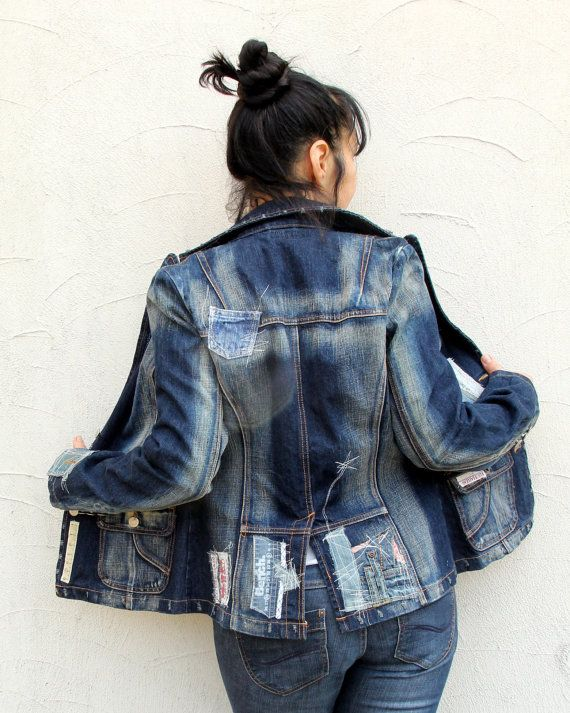M-L appliqued upcycled boro inspired denim jeans by jamfashion